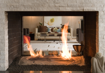 Gas fireplace buyers guide information about gas - Fireplace between two rooms ...